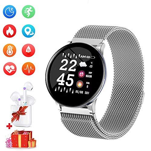 Smartwatch per Donna Uomo Impermeabile Sports Smartwatch Offerta Del Giorno+Cuffie Bluetooth Sports Fitness Tracker attività con Cardiofrequenzimetro Pedometro per Android iOS (Rosa)