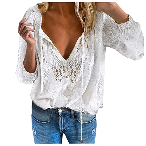 Julhold Blusa para mujer de verano casual encaje hueco diseño sólido Tops V- cuello manga larga camisa suelta Tops, blanco, S