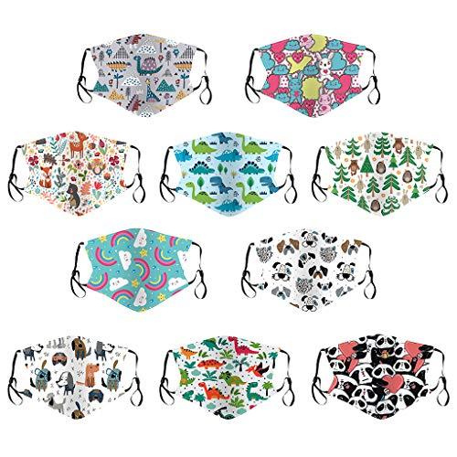 PPangUDing 10PC Kinder Mundschutz Waschbar Wiederverwendbar Baumwolle Atmungsaktive Staubdicht Multifunktional Schlauchschal Halstuch für Junge und Mädchen