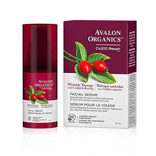 Avalon Organics Facial Serum, Wrinkle Therapy with CoQ10 & Rosehip, 0.55 Oz