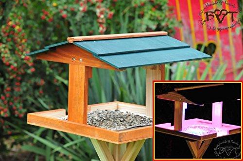 vogelfutterhaus,XXL,mit Licht,DACH DUNKEL-GRÜN,mit Beleuchtung,LED-Licht / Vogelhaus,wetterfest IN DUNKELBRAUN,VIERDAORI-BEL-dbraun001 NEU MASSIVES GANZJAHRES-Vogelhaus,KOMPLETT mit Ständer !!! wetterfest lasiert, Vogelfutterhaus MIT-Futterstation Farbe braun dunkelbraun schokobraun rustikal klassisch,Ausführung Naturholz MIT WETTERSCHUTZ-DACH für trockenes Futter
