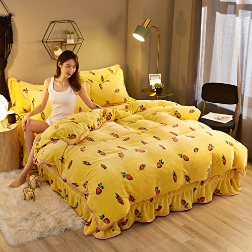 BH-JJSMGS Winter coral quilt cover four-piece thick warm flannel double-sided down duvet cover, carrot 220 * 240