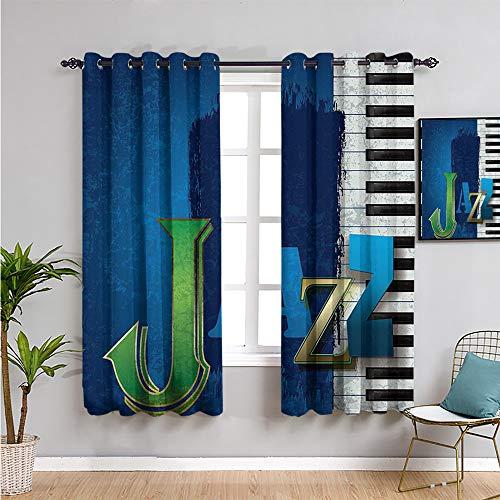 Pcglvie Jazz Music Decor Cortinas oscurecedoras para dormitorio, cortinas de 213,4 cm de largo, protección de privacidad, color azul marino, verde y blanco