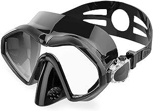 Scuba Profesional Máscaras, Anti-Niebla Gafas de Ultra-Light Silicona Equipo for Piscina Tubo Correa Ajustable for Adultos, Negro ZHNGHENG