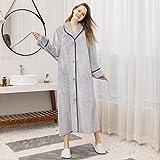 WRJY Conjunto de Albornoz de SPA con Bata de Kimono de algodón, Pijama Holgado de una Pieza para Parejas, Pijama de Franela Gruesa en Azul Invierno Female_XXXL (Longitud del Vestido: 14
