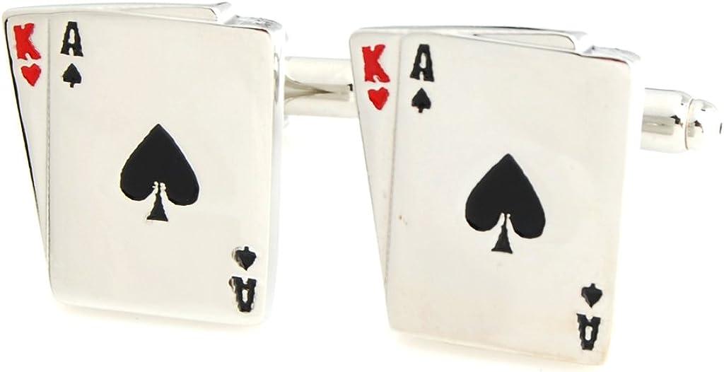 Omaha Mall The Smart Man Max 90% OFF Men's Spades King Poker Cufflinks Ace