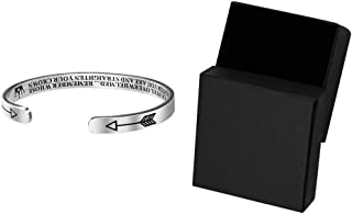 Evangelia.YM Inspirational Bracelets for Women Girls Birthday Gifts - Crown Stainless Steel Engraved Cuff Bangle to Daughter Friendship Jewelry with Gift Box (Silver)