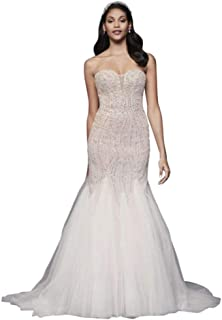 Beaded Tulle Sweetheart Trumpet Wedding Dress Style SWG823