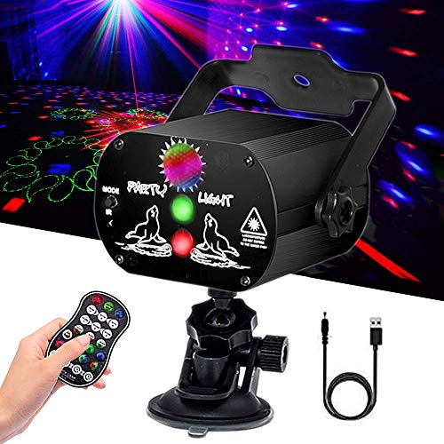 Laser Party Lights,USB Laser Lights Built in Rechargeable Battery,Strobe Laser Projector with Remote Control and Suction Cup,Sound Activated Disco Lights for Parties Birthday Wedding Bar