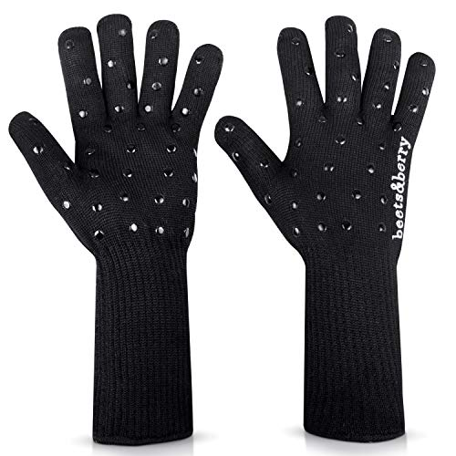 Oven Gloves Oven Mitts Heat Resistant to 932° | 1 Pair EN407 Designer BBQ Gloves Heat Resistant for Women with Extra Long Sleeves to Protect Forearms | Oven Gloves with Fingers, Superior Non-Slip Grip