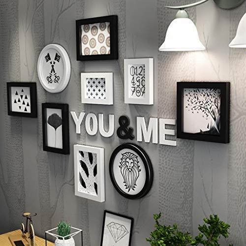 Cadre de Photo Collage Salon créatif Bois Panneau en Plastique Cadre Combinaison ménage décoration Murale (Couleur : Black and White)