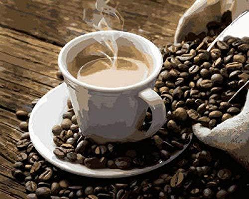 QIAOYUE Malen nach Zahlen Milder Kaffee Für Wohnzimmer Schlafzimmer Studie Dekoration Malen Kinder und Erwachsene Leinen Leinwand Farbe(mit Rahmen)