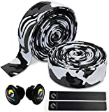 TOPCABIN Camouflage Series Comfort Gel Road Bike Handlebar Tape Bike Bar Tape with Reflective Bar Plugs (White (a Pair))