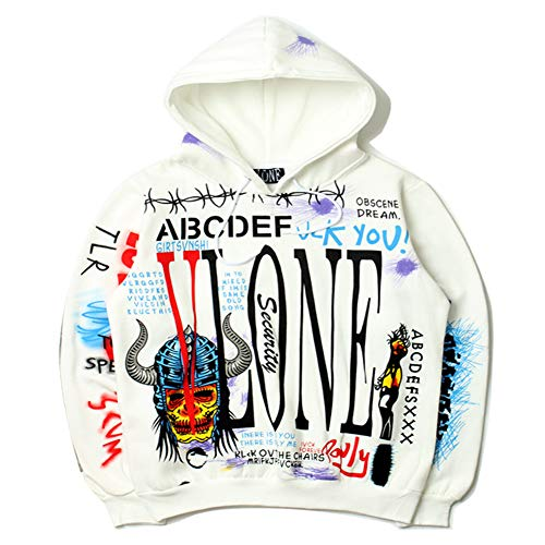 yur67 Graffiti LA Limited Men VLONE Joint Name x GE Hooded Sweater Women Couple Coat