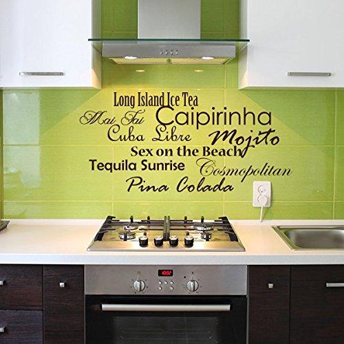 denoda® Cocktails - Wandtattoo Schwarz 53 x 25 cm (Wandsticker Wanddekoration Wohndeko Wohnzimmer Kinderzimmer Schlafzimmer Wand Aufkleber)