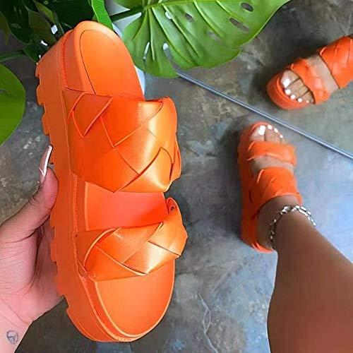 YYFF Planas Caminar Ortopedicas Zapatos,Zapatillas Tejidas Song Cake, un Tobillo se Puede lijar-Orange_39,Sandalias Hombre