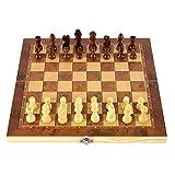 ZHENGJIU Schachspiel Magnetisch Dame Backgammon-Spiel 3-in-1, Faltbarem Schachbrett mit Stücke, Schachspiel Für Party Familie Aktivitäten Gehirnübung, Interaktive Eltern-Kind-Spiele 9,45 * 9,45 Zoll
