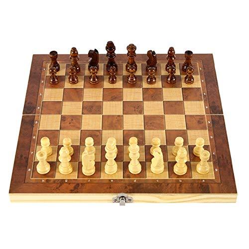 Schachspiel Magnetisch Dame Backgammon-Spiel 3-in-1, Faltbarem Schachbrett mit Stücke, Schachspiel Für Party Familie Aktivitäten Gehirnübung, Interaktive Eltern-Kind-Spiele 11,42 * 11,42 Zoll