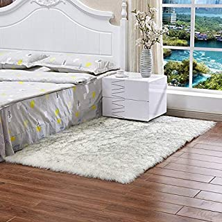 Rug - Thickened Washed Silk Hair Non-Slip Carpet Living Room Coffee Table Blanket Bedroom Bedside Mat Yoga Rugs Solid Colo...