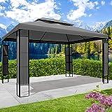 BRAST Tonnelle de jardin 3x4 avec LED BREEZE 2,7 H anthracite , étanche/imperméable, très stable, 100% acier thermolaqué de PA – pavillon de jardin 3x4m