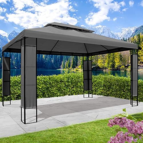 BRAST Tonnelle de jardin 3x4 avec LED BREEZE 2,7 H anthracite , étanche imperméable, très stable, 100% acier thermolaqué de PA – pavillon de jardin 3x4m