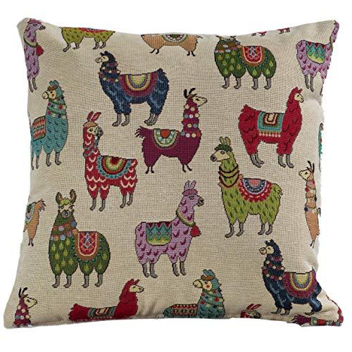 The Coastal Cushion Company Funda de cojín de Doble Cara con diseño de Alpaca Cuadrado de 17 x 17 Pulgadas. Quirky Cute Llama Diseño. Hecho a Mano en el Reino Unido a Partir de Tela Tejida Pesada.