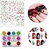Navidad Nail Art Pegatinas Calcomanías Decoración Set 12 Colores Acrílico Nail Glitter Powder Nail Art Tips Diy Gel Nail Polish Manicure Beauty Set 1 Pack