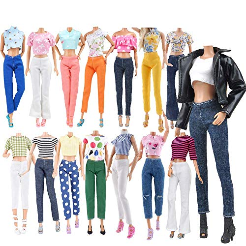 E-TING Lot 15 Items = 5 Sets Doll Clothes with 10 Pair Shoes Accessories for 11.5 Inch Girl Doll Outfits Random Style(Leather Jacket + Casual Wear Clothes)