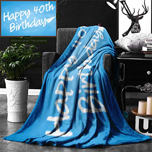 Ralahome Unique Custom Digital Print Flannel Blankets 40Th Birthday Decorations Celebration Theme Clouds in Blue Sky Paper Plane Fly Super Soft Blanketry Bed Couch, Throw Blanket 70 x 50 Inches