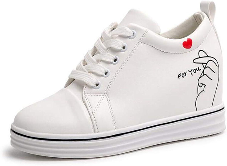ASO-SLING Women's Waterproof Wedge Sneakers Platform Lace Up Hidden Heel Flat White shoes