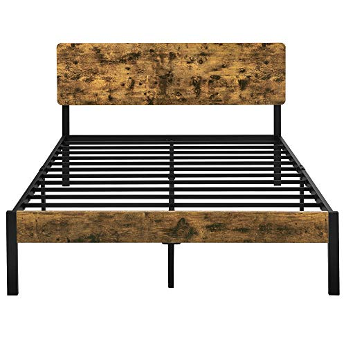 YAHEETECH Queen Size Vintage Style Metal Bed Frame with Wooden Headboard/Mattress Foundation/No Box Spring Needed/Under Bed Storage/Strong Slat Support