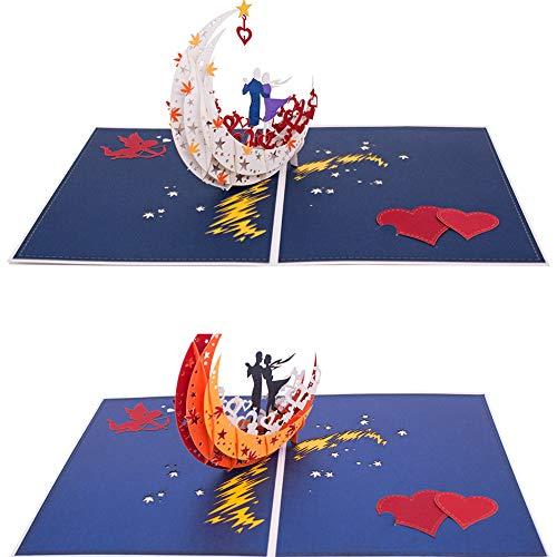 AITpaperart 3D-Grußkarte zum Jahrestag, tanzt auf dem Mondboot am See, Geschenke für Männer, Ehefrau, Ehemann, Freundin oder Freund, romantische Karte, Valentinstagskarte, Pop-Up-Karte (2 Stück)