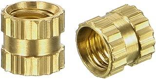 MroMax 10PCS Brass Thread Inserts 1//4 inches-20 x 6mm L x 8mm OD Round Threaded Embedment Nuts Assortment Kit Gold Tone