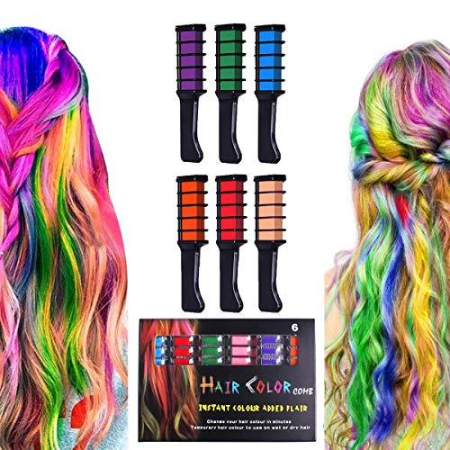 Haarkreide, Halloween Geburtstag Weihnachten Cosplay und DIY, 6 Farben Temporäre waschbare Haarfarbe Kreide ungiftiges Geschenk für Mädchen Jungen Teen Kinder