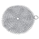Chainmail Scrubber, Cast Iron Cleaner Stainless Steel Rust Proof More Efficient to Clean Cast Iron Cookware,Pan,Grill,Griddle,Grate,Kitchen Gadget