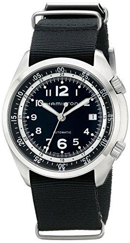 HAMILTON Herren-Armbanduhr 43MM Armband LEINEN SCHWARZ AUTOMATIK H76455933