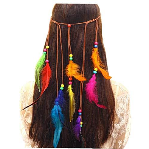 Casecover Tribal Feder-Stirnband Hippie Kopftuch Niedliche Perlen Indianerkopfschmuck Für Maskerade