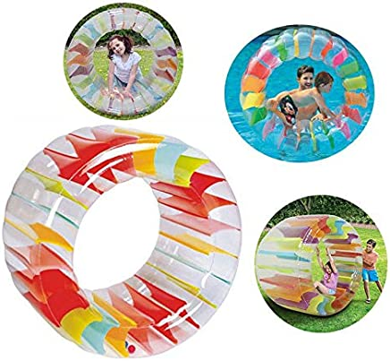 Hamkaw Flotador Inflable De La Rueda De Agua Rainbow Gigante Piscina Juguete De La Rueda De Agua Flotador Inflable De La Rueda De Agua para Jugar En La Piscina Al Aire Libre Interior