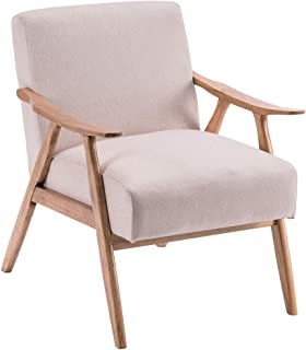VINGLI Mid-Century Retro Modern Upholstered Lounge Chair Fabric Accent Chair Sturdy Wooden Frame Armchair (Beige)