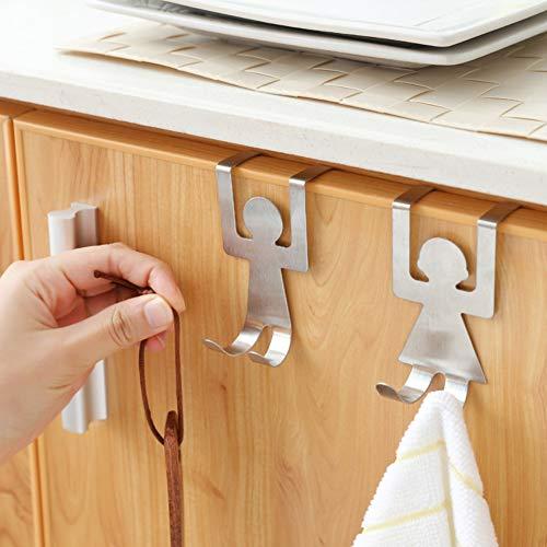Dandeliondeme 2 pezzi in acciaio inox forma umana sopra armadio cassetto porta gancio gancio supporto per cucina bagno parete gabinetto armadi argento
