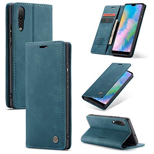 AKC Funda Compatible para Huawei P20 Pro Carcasa con Flip Case Cover Cuero Magnético Plegable Carter Soporte Prueba de Golpes Caso-Azul