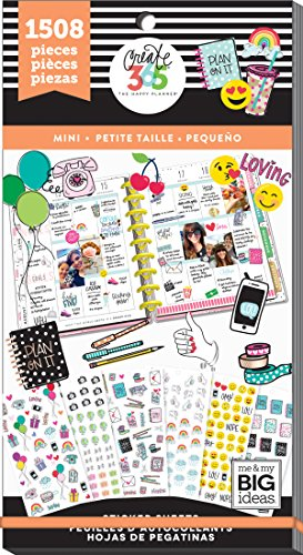 me & my BIG ideas Sticker Value Pack for Mini Planner - The Happy Planner Scrapbooking Supplies - Icons Theme - Multi-Color & Gold Foil - Great for Projects & Albums - 30 Sheets, 1508 Stickers Total