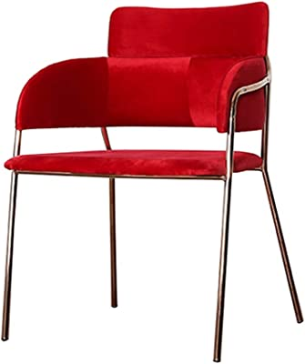 Dining Chairs Vintage Industrial Dining Chair, Wrought Iron Chair, Simple Gold Personality Restaurant Chair, with Armrests, Soft Velvet Chair (Color : Red, Size : 59 * 50 * 81cm)