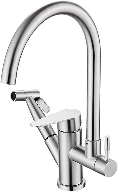 MWPO Wasserhahn Warm- und Kaltwasserhahn Waschbecken Edelstahl Küche Bad Spritzwassergeschützter seitlicher Klimmzughahn FANJIANI