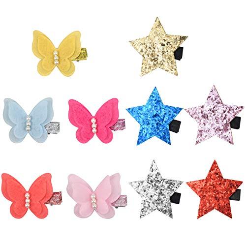 HQdeal 10 Stück Schmetterling Haarspangen für Mädchen, Funkeln Stern Haarklammer, Haarnadeln, Haar Haarspangen Zubehö für Damen, Kinder, Mädchen.