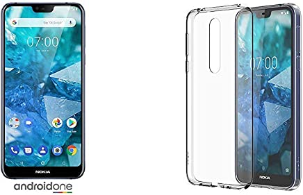 """$309 Get Nokia 7.1  Android 9.0 Pie - 64 GB - 12+5 MP Dual Camera - Dual SIM Unlocked Smartphone (at&T/T-Mobile/MetroPCS/Cricket/H2O)  5.84"""" FHD+ HDR Screen - Blue & 7.1 Case - Official Nokia Accessory Clear"""