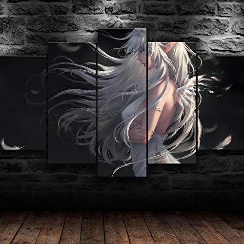5 piezas Anime cine dibujos animados blanco ángel princesa Fondo Pintura de la Pared La impresión de la Imagen en la Lona Art Fotos de la Obra para la Decoración Moderna del Ministerio del Int