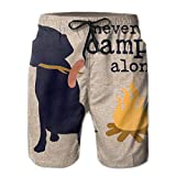 Men Swim Trunks Never Camp Alone Dog Beach Bathing Suit Casual Sports Shorts Quick Dry Swimming for Summer, X-Large
