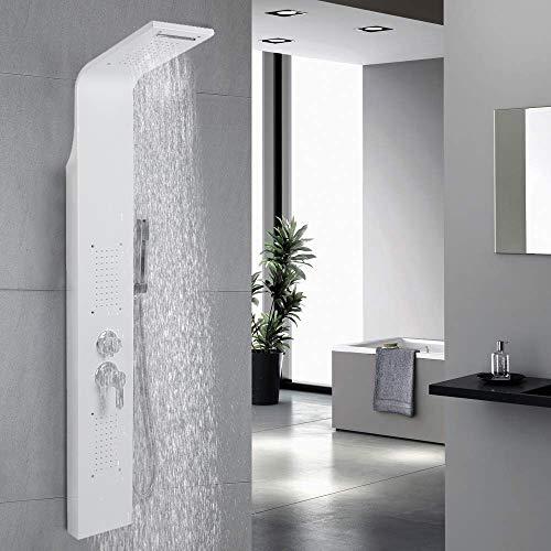 Duschpaneel Edelstahl mit Massagendüsen,Regendusche,Handbrause,Wasserfall Duschsäule (Weißer Edelstahl)