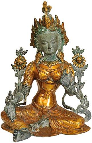 Exotic India - Estatua Budista tibetana de Tara Verde de la Deidad, Antigüedad, 22 x 35 x 45 Pulgadas